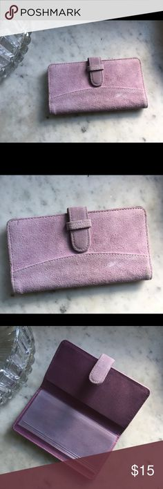 Adorable lavender suede leather checkbook case Lightly used lavender leather case. Genuine suede leather and very cute!  Has insert to keep carbon copies separate. Bags Wallets