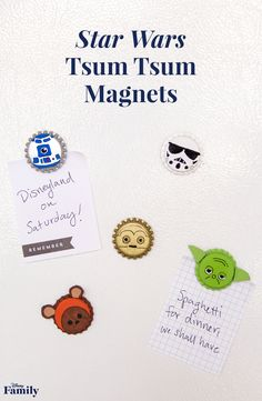 Add a touch of magic to your family's fridge (or notes to your young Jedi) with Star Wars characters! Using bottle caps and a little bit of paint, you can transform this ordinary household item into Star Wars Tsum Tsum Magnets that are out of this world.