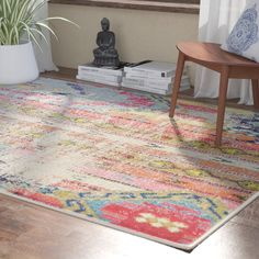 Set eye-catching style underfoot with this chic rug, showcasing a distressed geometric motif in vibrant hues. Yellow Rug, Yellow Area Rugs, Orange Area Rug, Pink Rug, Beige Area Rugs, All Modern, Modern Decor, Area Rugs For Sale, Polypropylene Rugs