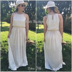 Perfect summer maxi This gorgeous maxi is lightly pleated from the waist to the hemline and is fully lined through the knees, has 2 side slits and braided detailing around the neckline Price is firm!  S(2/4) M(6/8) L(10/12) Dresses Maxi