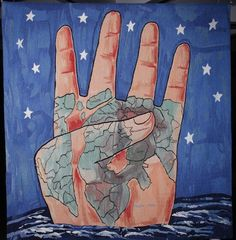 """Francesco Clemente. """"The Four Corners,"""" 1987. Woven tapestry"""