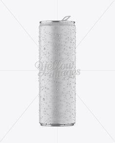 250ml Aluminium Can W/ Condensation & Matte Finish Mockup