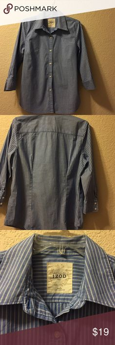 Izod lg blue and white stripes Blue and white button down Izod with 3/4 sleeves. Size lg. 97% cotton 3% spandex Izod Tops Button Down Shirts