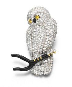 A DIAMOND AND BLACK CORAL OWL BROOCH, BY VAN CLEEF & ARPELS - Christies
