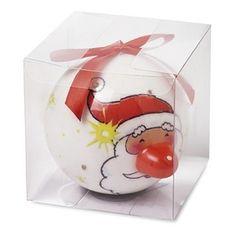Kerstman kerstbal met LED lampje. Witte kerstbal met opdruk van de kerstman. De kerstman is voorzien van een LED lampje voor een mooie effect in de boom. De kerstbal heeft een formaat van ongeveer 8 cm, heeft een knipperend LED lampje en een rode hanger.