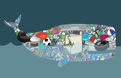 Whale art - made from trash in the sea - illustrating how we pollute our waters and threaten marine life