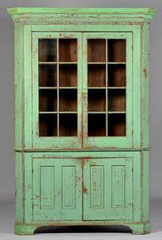 Early Ohio Green Painted Corner Cupboard