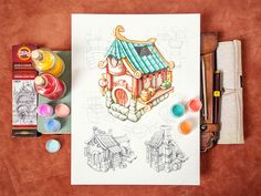As you guys probably know mastering new styles is really my thing! :) I started concepting some buildings for a small RPG game. What do you think, any criticism or fresh ideas? Sketch Markers, Doodle Drawings, Show And Tell, Wordpress Theme, Cool Designs, Doodles, Geek Stuff, Sketches, Mint