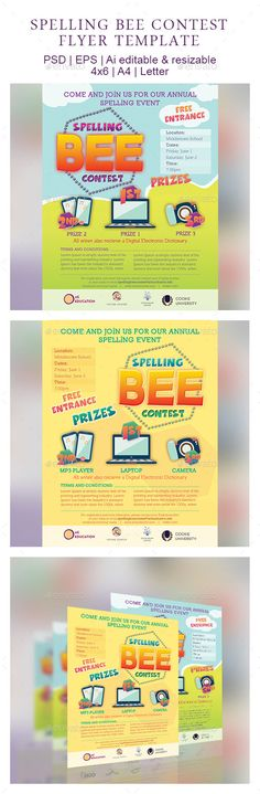 Spelling Bee Contest - Graphicriver bee, contest, event, flyer, green, hall, junior, poster, printable, school, spelling, stage, student, template, yellow