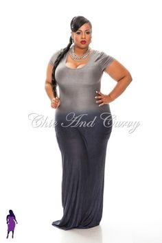plus size models in grey | ... plus-size-bodycon-maxi-grey-ombre-into-navy-black-1x-2x-3x Model