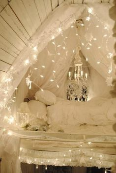 "I love this! I wonder if it's in a bedroom or inventiveness in a small home. (The ""cave"" nook is pretty cool too!)"