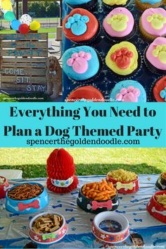 Everything you need to plan your next dog themed party! From Decor to Food to Activities, Spencer the Goldendoodle has everything you need! How Often Should You Clean Up Dog Poop Dog Themed Food, Dog Themed Parties, Puppy Birthday Parties, Puppy Party, Dog Birthday, Birthday Party Decorations, Party Themes, Party Ideas, Birthday Ideas