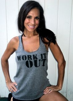 WORK IT OUT OldSchool Heathered Racerback by FiredaughterClothing, $30.00