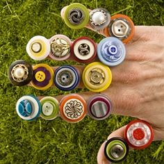 Recycled button rings...