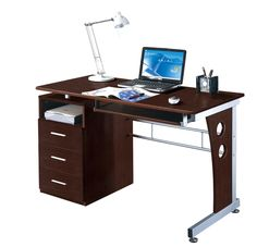 Techni Mobili Computer Desk with Storage in Frosted
