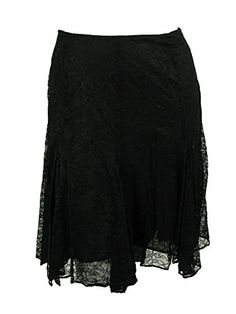 Ralph Lauren Womens Lace Handkerchief Hem Skirt 18W Black *** Learn more by visiting the image link.