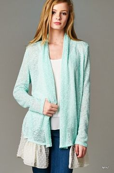 Mint speckled cardigan with lace bottom layer. S-M-L $35 shipped Purchase here https://www.facebook.com/photo.php?fbid=10153686433963686&set=pcb.988628187863124&type=3&theater