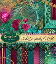 Teal, Burgundy and Gold Graphics Graphics Teal, Burgundy and Gold Digital Scrapbooking KitThis is a set of digital images you can use to mak by Origins Digital Curio Teal Wallpaper, Burgundy And Gold, Digital Scrapbooking, Digital Papers, Color Pallets, Watercolor And Ink, Color Themes, Scrapbook Paper, Paint Colors