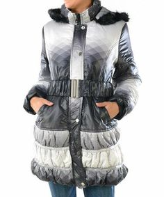 Ombre Jacket in White, Gray & Black.