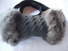Rabbit Fur Muff-one side rabbit fur other side merino knitting wool-unique