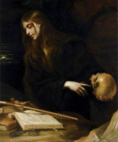 The Penitent Magdalene. Mateo Cerezo (Spanish, Oil on canvas. Cerezo's style is that of Spanish Baroque, influenced by Tenebrism. Cerezo was inspired by Titian and the. Classic Paintings, Old Paintings, Tableaux Vivants, Renaissance Kunst, Art Ancien, Arte Obscura, Baroque Art, Mary Magdalene, Painting Art