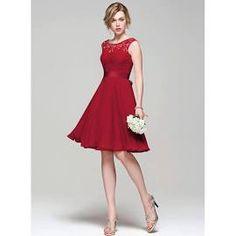 A-Line Princess Scoop Neck Knee-Length Chiffon Lace Bridesmaid ...