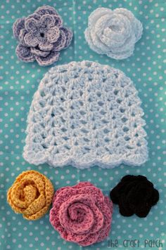 The Craft Patch: Lacy Crochet Baby Beanie- Free written& charted pattern