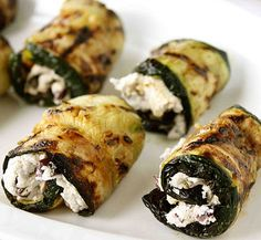 Grilled Zucchini Rolls with Goat Cheese, Basil and Olives (maybe whipped feta as a sub for the goat cheese)