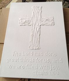 custom made pure white cross with date and/or bible verse and/or name. $35.00, via Etsy. Tks @Kelly Morgan.
