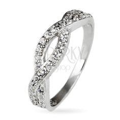 Gyűrű 925 ezüstből - fonott minta tiszta kövekkel | Ekszer Eshop