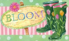 Boots and Bloom Floormat - A beautiful welcome for your guests at your front door!  Buy at Lights in the Northern Sky www.lightsinthenorthernsky.com  $22.95