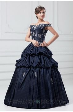 Ball Gown Off-the-shoulder Floor Length Taffeta Black Quinceanera Dress with Appliques TSKN671