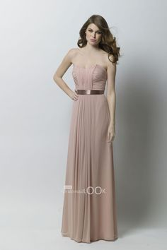 mocha chiffon strapless shirred sheath floor length dress