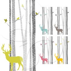 A Woodland themed set with colourful silhouettes of Deers and Birds amongst a Birch Tree forest.