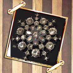 Vintage Silver Tone Rhinestone Brooch