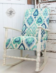 When I found my first rocker face down, curbside, and broken, I had no idea how popular my rockers would become.   Check out my latest rocker redo with chalk paint and ikat fabric...