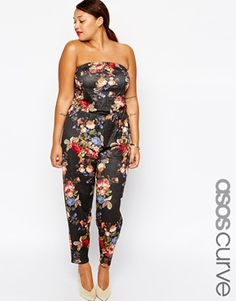ASOS CURVE Exclusive Bandeau Jumpsuit In Textured Rose Print