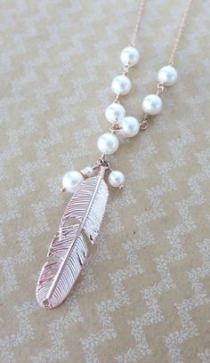 Rose Gold Feather Necklace - Swarovski pearl beaded, rose gold filled chain, gifts for her, garden, bird, everyday pretty, www.colormemissy.com