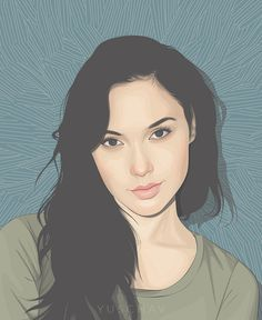 """Gal Gadot"" - Yuschav Arly {figurative art beautiful female head woman face portrait digital vector drawing #loveart} yuschav.deviantart.com"