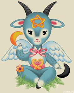 Baby's First Baphomet Art Print, pastel goth, angel wings, star, crescent moon, two snakes