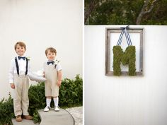 adorable, preppy ring bearers and decor with khaki & striped ribbon - photo by www.candicekphotography.com