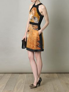 Cocktail pow: Women's 'Bing Bang' print silk dress by Fendi via @MATCHESFASHION.COM #racer_back #digital_print