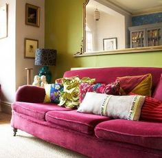 ⋴⍕ Boho Decor Bliss ⍕⋼ bright gypsy color & hippie bohemian mixed pattern home decorating ideas - yummy velvet sofa in cerise