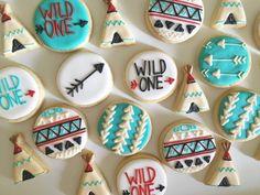 Mini Tribal Cookies Sugar Cookies by MilkandHoneyCakery on Etsy (cute birthday cookies) Mini Cookies, Iced Cookies, Cute Cookies, Royal Icing Cookies, Sugar Cookies, Wild One Birthday Party, First Birthday Parties, First Birthdays, Birthday Ideas