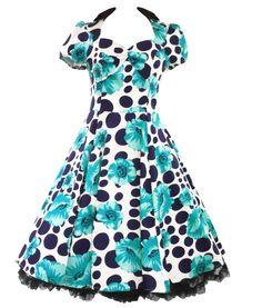H&R London 50's 60's Retro Polka Dot Poppy Floral Dress Turquoise