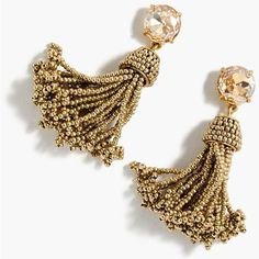J.Crew Beaded Tassel Earrings ($86) ❤ liked on Polyvore featuring jewelry, earrings, j crew earrings, j crew jewelry, j crew jewellery, tassel earrings and bead jewellery