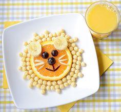 Kix cereal & fruit lion for bento or breakfast