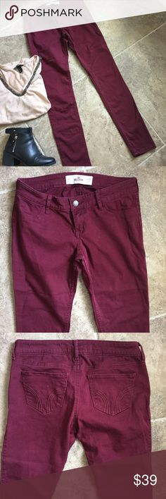 Maroon Hollister Pants Very stretchy and like new Hollister pants. They feel like denim but they're super soft. Only worn once and put away, they are in great condition. 26W and 31L Hollister Pants Skinny