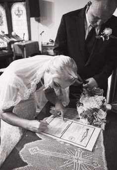 Wedding pictures! Signing the marriage license