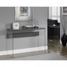 Modern Console Table Glass Entryway Furniture Narrow Hallway Accent Sofa Sturdy #ModernConsoleTable #Modern